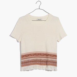 Madewell Fringed Medina Sweater Tee NWT Sz XS